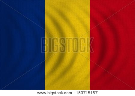 Romanian national official flag. Patriotic symbol banner element background. Correct colors. Flag of Romania wavy with real detailed fabric texture accurate size illustration