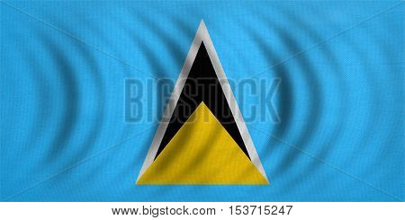 Saint Lucian national official flag. Patriotic symbol banner element background. Correct colors. Flag of Saint Lucia wavy with real detailed fabric texture accurate size illustration