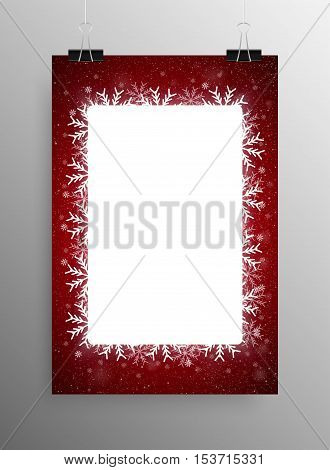 Vertical Poster Banner A4 Vector Paper Clips. Vector Rectangle Frame Snowflake. Falling Snow. White Winter Frame Background on red. Winter Snowfall. Winter Holidays New Year and Merry Christmas.
