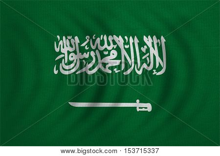 Saudi Arabian national official flag. Patriotic symbol banner element background. Correct colors. Flag of Saudi Arabia wavy with real detailed fabric texture accurate size illustration