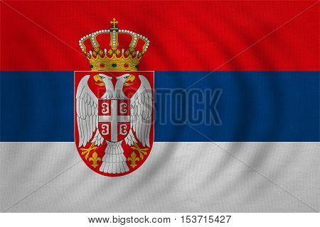 Serbian national official flag. Patriotic symbol banner element background. Correct colors. Flag of Serbia wavy with real detailed fabric texture accurate size illustration