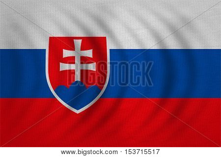 Slovakian national official flag. Patriotic symbol banner element background. Correct colors. Flag of Slovakia wavy with real detailed fabric texture accurate size illustration