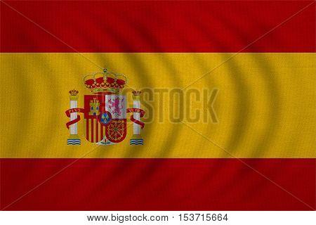 Spanish national official flag. Patriotic symbol banner element background. Correct colors. Flag of Spain wavy with real detailed fabric texture accurate size illustration
