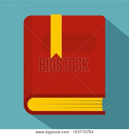 Thick book with bookmark icon. Flat illustration of thick book with bookmark vector icon for web