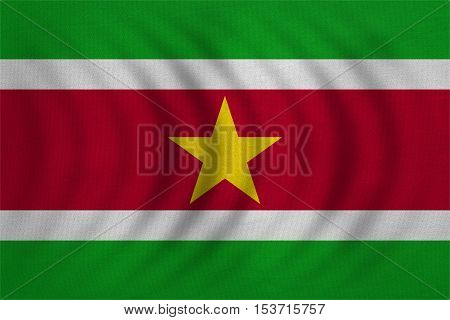 Surinamese national official flag. Patriotic symbol banner element background. Correct colors. Flag of Suriname wavy with real detailed fabric texture accurate size illustration