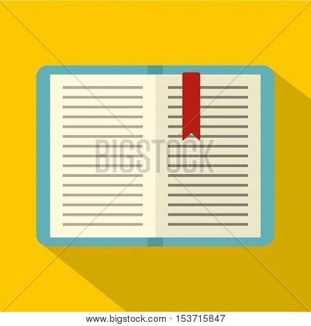 Open tutorial with bookmark icon. Flat illustration of open tutorial with bookmark vector icon for web