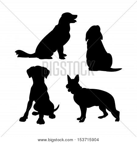 Black silhouettes of dogs on a white background. Set of vector illustrations