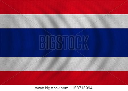 Thai national official flag. Patriotic symbol banner element background. Correct colors. Flag of Thailand wavy with real detailed fabric texture accurate size illustration