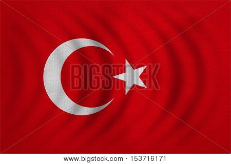 Turkish national official flag. Patriotic symbol banner element background. Correct colors. Flag of Turkey wavy with real detailed fabric texture accurate size illustration