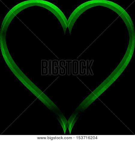 Abstract green heart lighting on black background with space for text