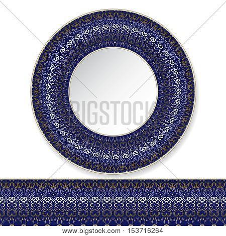 Vector illustration of a blue plate with gold pattern