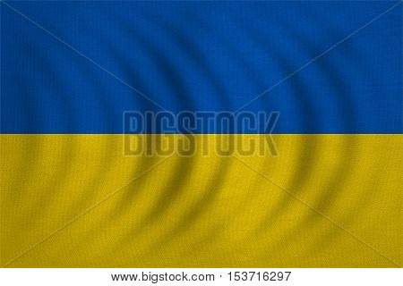 Ukrainian national official flag. Patriotic symbol banner element background. Correct colors. Flag of Ukraine wavy wavy with real detailed fabric texture accurate size illustration