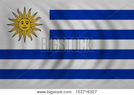 Uruguayan national official flag. Patriotic symbol banner element background. Correct colors. Flag of Uruguay wavy with real detailed fabric texture accurate size illustration