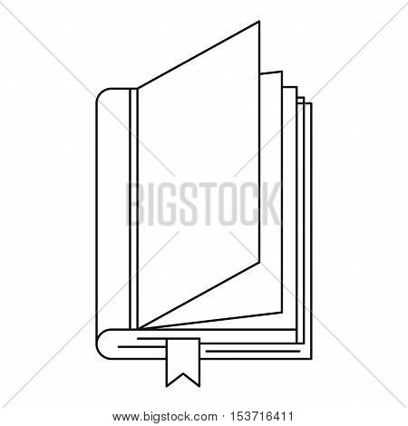Book with bookmark icon. Outline illustration of book with bookmark vector icon for web