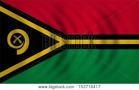 Vanuatuan national official flag. Patriotic symbol banner element background. Correct colors. Flag of Vanuatu wavy with real detailed fabric texture accurate size illustration