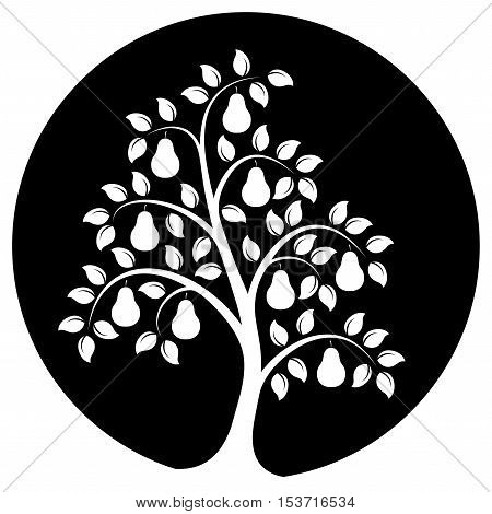vector pear tree isolated on black round