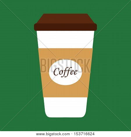 Flat icon disposable coffee cup with coffee beans. Vector illustration.