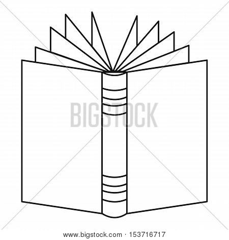Open thick book icon. Outline illustration of open thick book vector icon for web