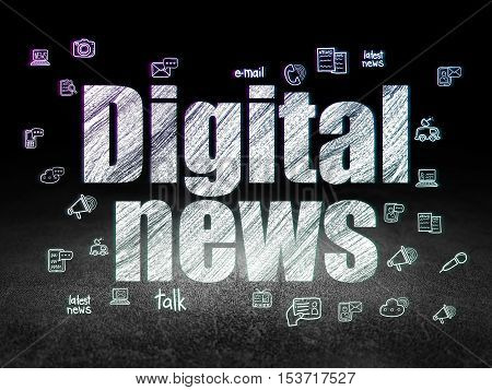 News concept: Glowing text Digital News,  Hand Drawn News Icons in grunge dark room with Dirty Floor, black background