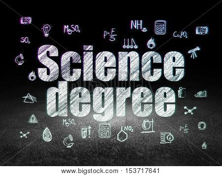 Science concept: Glowing text Science Degree,  Hand Drawn Science Icons in grunge dark room with Dirty Floor, black background