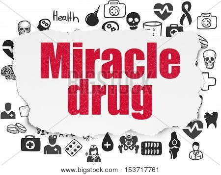 Medicine concept: Painted red text Miracle Drug on Torn Paper background with  Hand Drawn Medicine Icons