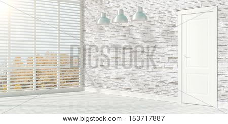Empty modern interior with window. 3D rendering