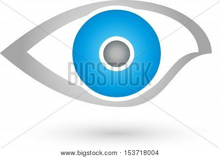 Eye in blue and gray, security and eye doctor logo