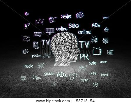 Marketing concept: Glowing Head icon in grunge dark room with Dirty Floor, black background with  Hand Drawn Marketing Icons
