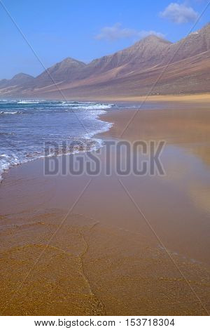 View on the beach Cofete on the Canary Island Fuerteventura Spain.
