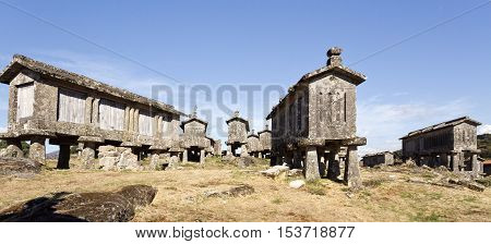 Detail of the communitarian granaries called espigueiros in the village of Lindoso Peneda National Park Northern Portugal