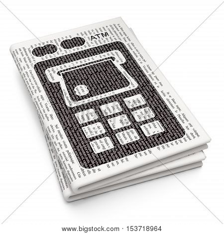 Currency concept: Pixelated black ATM Machine icon on Newspaper background, 3D rendering