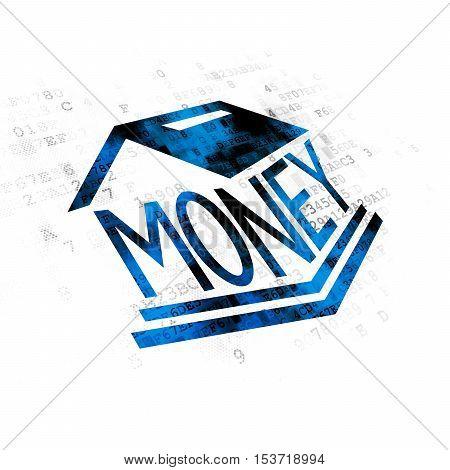Banking concept: Pixelated blue Money Box icon on Digital background