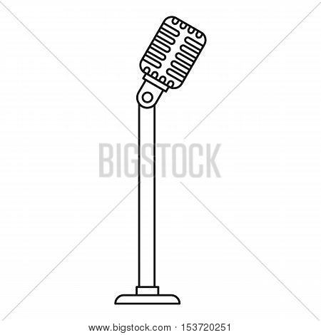 Microphone on stand icon. Outline illustration of microphone on stand vector icon for web