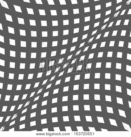 Black and white optical illusion. Op art vector background with frame. Abstract lines distortion effect