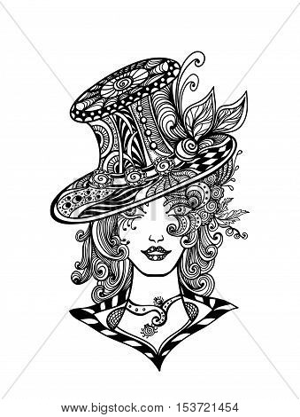 Girl in hat in Zen-doodle or  Zen-tangle decorative style handmade black on white for Halloween or for make up on Masquerade or for coloring page or relax coloring book or for decorate package clothes
