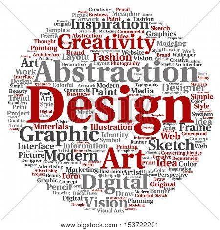 Concept or conceptual creativity art graphic design circle word cloud isolated on background