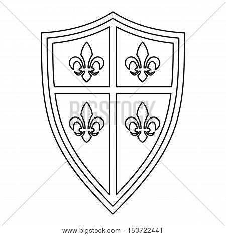 Royal shield icon. Outline illustration of royal shield vector icon for web