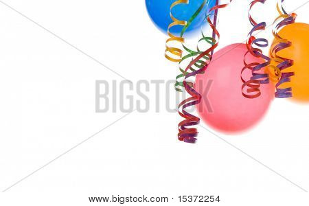 Border made from colorful balloons and confetti isolated on white background