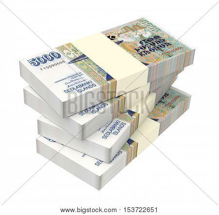 Ugandan shillings bills isolated on white background. 3D illustration.