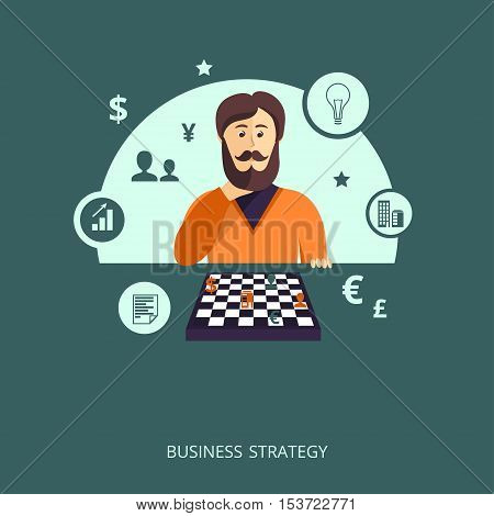Vector illustration. The character representing the concept of business strategy .
