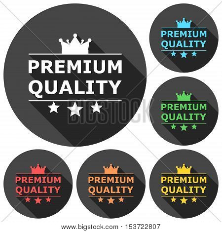 Premium quality icons set with long shadow