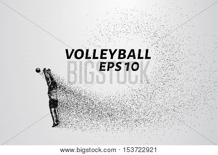 Volleyball player of the particles. Volleyball consists of circles and points.