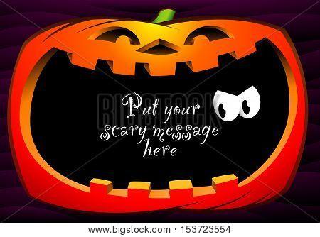 Happy pumpkin frame on dark violet background