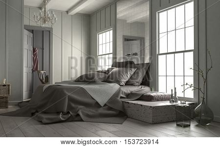 Modern bedroom interior with large mirror above the double bed and big cottage pane windows letting in daylight, 3d rendering