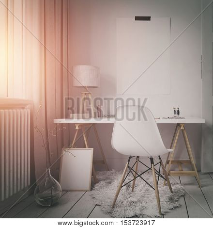 Simple modern workspace in an apartment or loft with a small corner table and chair alongside a sunlit window with warm glow, blank frame and poster with copy space in a 3d rendering