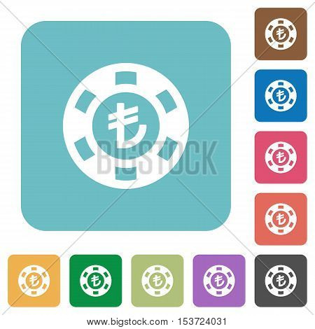 Turkish Lira casino chip white flat icons on color rounded square backgrounds