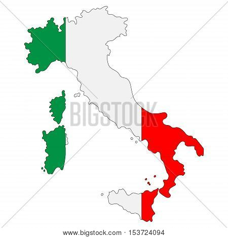 Map of Italy painted in national flag colors