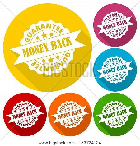 Money back guarantee icons set with long shadow