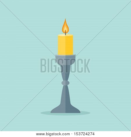 Candle in a candlestick isolated on background. Flat style icon. Vector illustration.