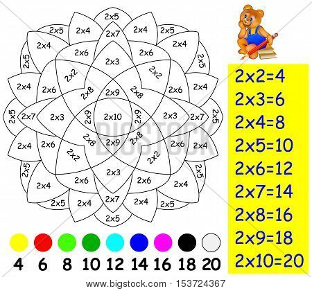 Exercise for children with multiplication by two. Need to paint image in relevant color. Vector image.
